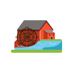 Old water mill, farm building, countryside life object vector Illustration