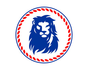 blue lion leo head silhouette image vector icon logo