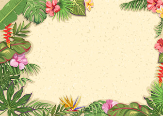 Light background with tropical flowers and leaves