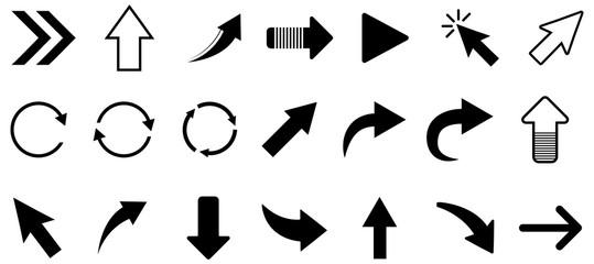 Black arrow vector icon pack