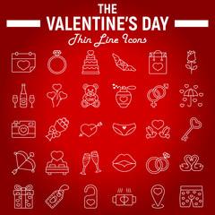 Happy Valentines Day line icon set