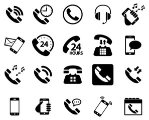 Wall Mural - Black phone vector icons pack
