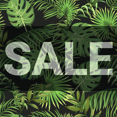 Sale. Inscription on seamless background with palm leaves