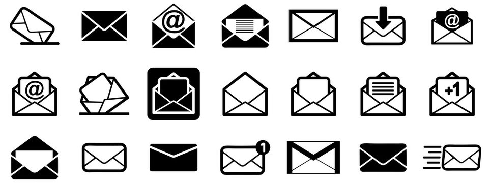 Black emails vector icon pack
