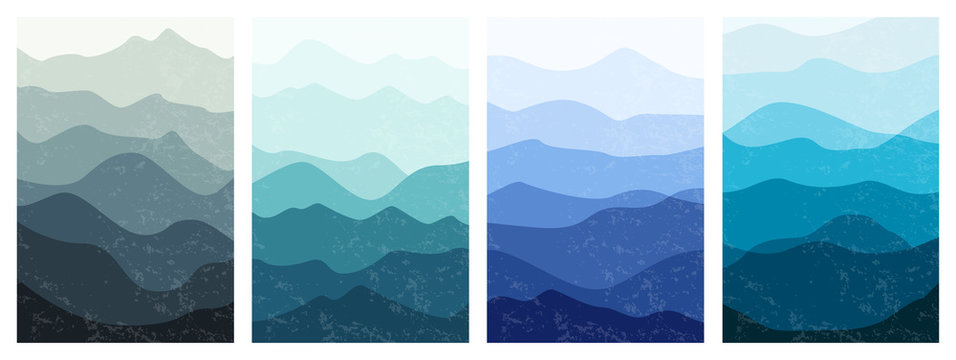 Beautiful mountains landscapes in different colors. Set of layered vertical backgrounds. Stylish outdoor card templates. Textured vector illustration for posters, banners, leaflets and covers design.
