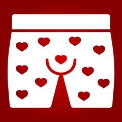 Men underwear with hearts glyph icon
