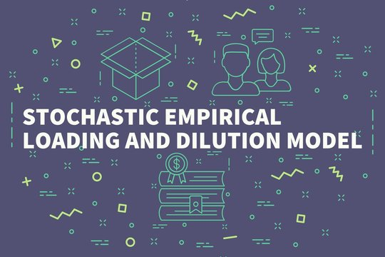 Conceptual business illustration with the words stochastic empirical loading and dilution model