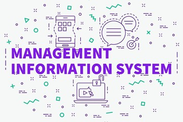 Conceptual business illustration with the words management information system