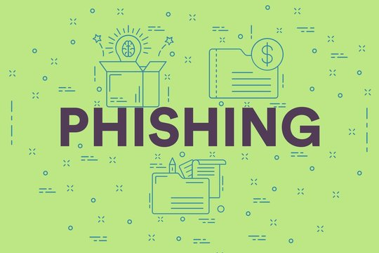 Conceptual business illustration with the words phishing