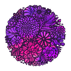 Beautiful vector flowers and plants in the circle.