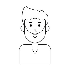 Young man face cartoon icon vector illustration graphic design