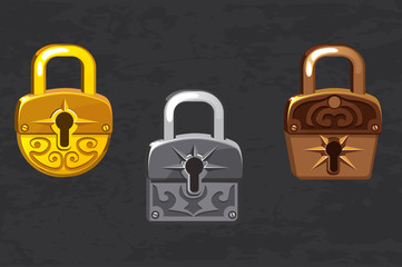 cartoon collection of gold, silver and bronze padlocks. Game and app ui icons, design elements.