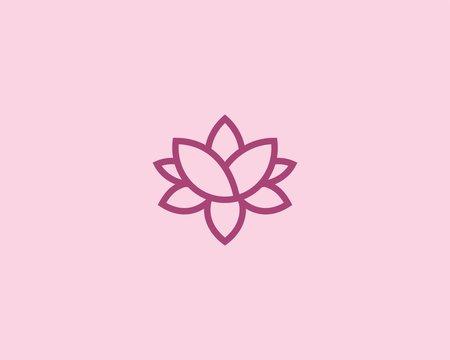 lotus monogram logo icon vector