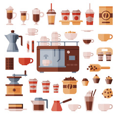 Coffee set vector coffeemachine with coffeecups for hot espresso or cappuccino and beverages with caffeine in plastic cups takeaway in coffeeshop illustration isolated on white background