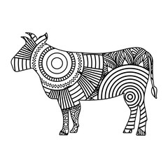 hand drawn for adult coloring pages with bull zentangle monochrome sketch vector illustration