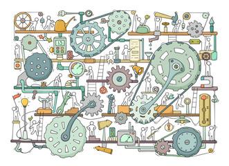 Sketch of people teamwork, gears, production
