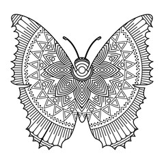 hand drawn for adult coloring pages with butterfly zentangle monochrome sketch vector illustration