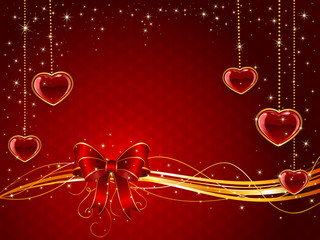 Red Valentines background with bow and hearts