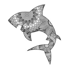 hand drawn for adult coloring pages with shark zentangle monochrome sketch vector illustration