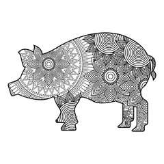 hand drawn for adult coloring pages with pig zentangle monochrome sketch vector illustration
