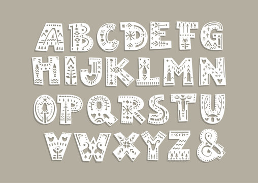 Vector capital alphabet. Cut out letters with scandinavian patterns for a laser cutting template of paper and vinyl. For monograms, initials.