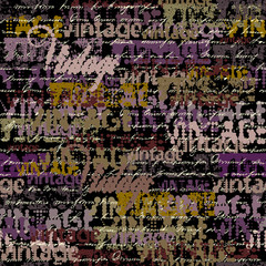 Seamless background pattern. Halftone grunge pattern with a Vintage words.