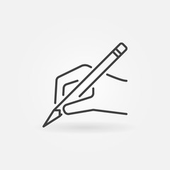Hand with pencil vector icon in thin line style