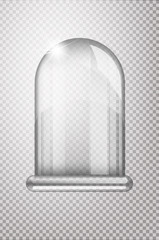 Magic crystal flask of glass. Empty snow bulb. White transparent glass flask on a stand. Vector christmas glass bulb on transparent background. Transparent object for design, mock-up
