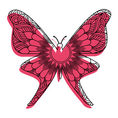 hand drawn for adult coloring pages with butterfly zentangle vector illustration