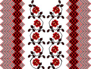 """Obraz abstrakcyjny, stylizowany ornament etniczny """"haft ukraiński"""" - 189145162"""