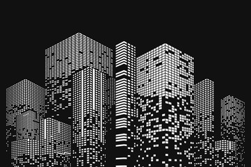 Building and city illustration. Black cities silhouette with windows. Graphic concept for your design.