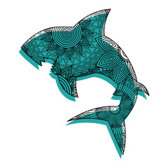 hand drawn for adult coloring pages with shark zentangle  vector illustration