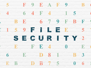 Safety concept: Painted blue text File Security on White Brick wall background with Hexadecimal Code