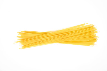 Uncooked pasta spaghetti macaroni isolated on white background Wall mural