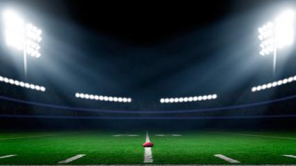 Football field with stadium lights