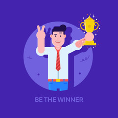 Leading manager or businessman with prize cup icon. Happy office man holding trophy. Achievement, award and first place concept. Be the winner successful career illustration with young professinal.
