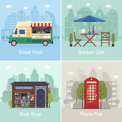 Entertainment city places and infrastructure spots scenes and concepts in flat design. Street food truck, outdoor cafe, bookshop and red phone post on modern city backgrounds. Urban collection.