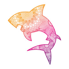 hand drawn for adult coloring pages with shark zentangle  vector illustration color line gradient design
