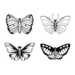 Butterfly silhouette collection. Set of hand-drawn elements.