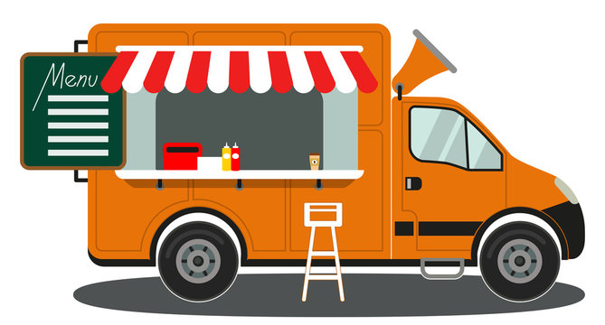 Orange food truck side view menu coffee white chair poster