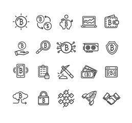 Bitcoin Currency Signs Black Thin Line Icon Set. Vector