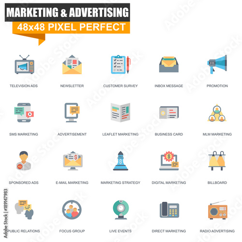 modern flat marketing and advertising icons set for website and