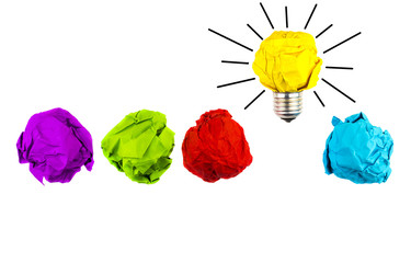 Great idea, standing out of the crowd concept. Crumpled paper as symbol of a light bulb, idea isolated on white background