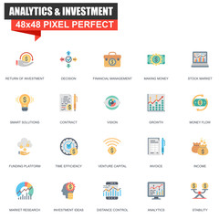 Modern flat analytics and investment icons set for website and mobile site and apps. Contains such Icons as Vision, Money, Funding, Decision. 48x48 Pixel Perfect. Editable Stroke. Vector illustration.