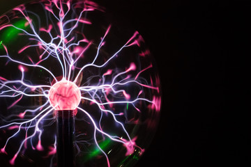 Plasma ball in action. Space for text.