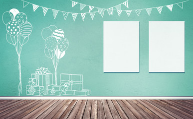3d rendering illustration of room preparing for party, baby showers, birthday. Nice chalk sketches of gifts, balloons and flags decoration on colored wall. Two blank frames on wall, poster, artwork mo