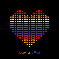 Vector background for LGBT love concept with colorful rainbow heart