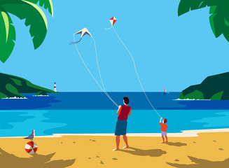 Kiting on sea beach
