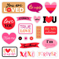 Set of cute romantic sticker or badges for valentine's day