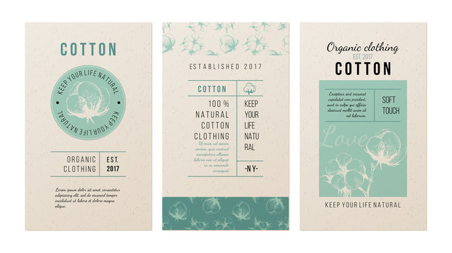 Cotton banners in vintage style
